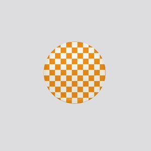 ORANGE AND WHITE Checkered Pattern Mini Button